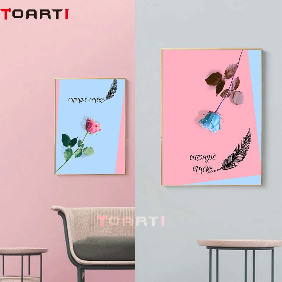 Flowers Insects Picture Poster Framed Print Pink//Red Roses with Butterflies