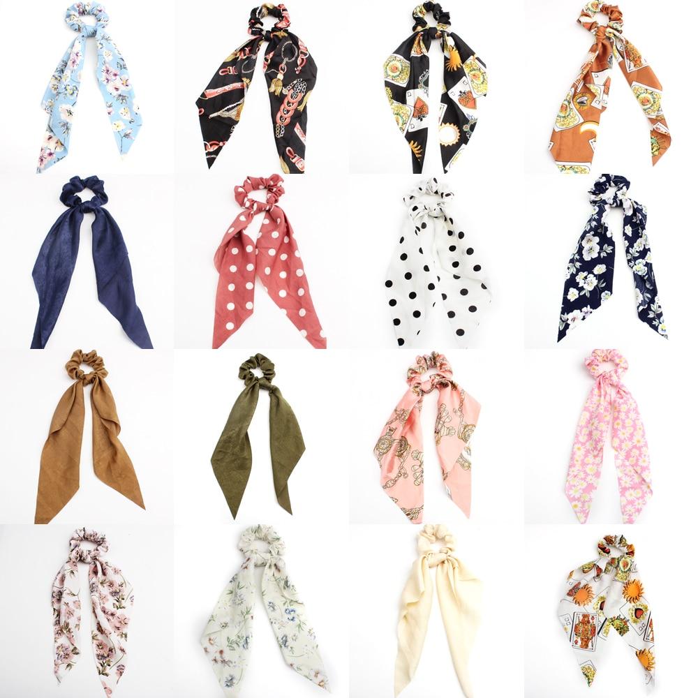 2019 Fashion Print Hair Scarf Hair Ring Ribbon Women Hair Bands Scrunchies Horsetail Hair Ribbons   Headwear   Hair Accessories