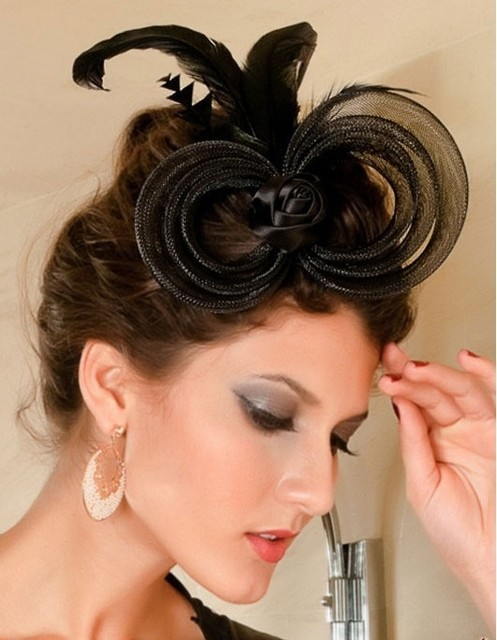 New 2013 Fashion Fascinator Flower Ribbon Ostrich Feather Mini Cocktail Hats Hair Accessories Women Couture Headpieces WIGO0158