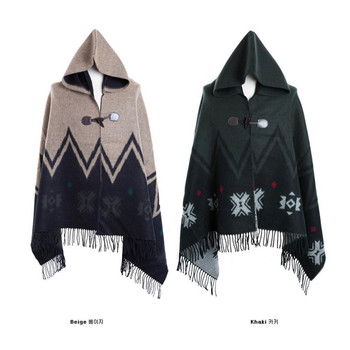 Trench Male Patchwork  Color Block with A Hood Cloak Men's Clothing Cape Star Cloak Trench Coat Men Casaco Masculino Coat Men