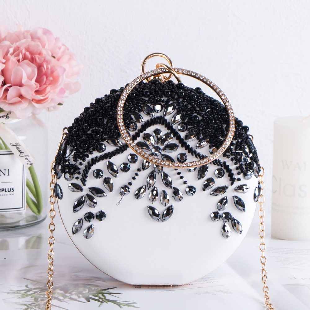 Luxury Women Party Wedding Beading Round Evening Bags Vintage Diamond Crystal Flower Black White Day Clutches With Gold Chain