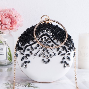 Luxury Women Party Wedding Beading Round Evening bags Vintage Diamond Crystal Flower Black White Day Clutches with Gold Chain xiyuan brand fashion women silver messenger bags vintage metal gold day clutches small purse evening bags for wedding party bag