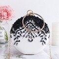 Luxus Frauen Party Hochzeit Perlen Runde Abend taschen Vintage Diamant Kristall Blume Schwarz Weiß Tag Kupplungen mit Gold Kette