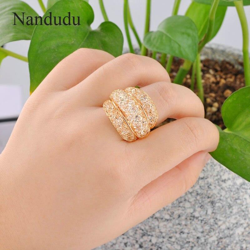 Nandudu Rose Gold Mesh Zircon Ring Hot Sale Fashion Jewelry Statement Rings Accessories Female Women Girlish Gift R561