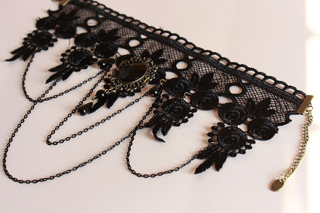 HTB1nl.PXrr1gK0jSZFDq6z9yVXaQ - Halloween Sexy Gothic Chokers Crystal Black Lace Neck Collares Choker Necklace Vintage Victorian Women Chocker Steampunk Jewelry