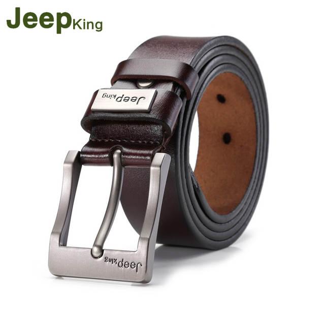 e1a73d76d JEEPKING Men  Belts Strap Male Genuine Leather Luxury Brand Fashion Man  Leather Belt Mens Pin