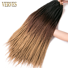 VERVES box braid Crochet braids 24 inch 22 Roots/pack Ombre Synthetic Braiding Hair extension Heat Fiber Bulk Crochet braid pink vogue twisted rope braid silver ombre white long synthetic hair extension for women