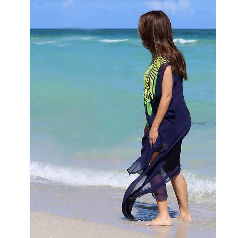 Traje de baño vestido de gasa pecho bordado Vestido de playa bikini cubierta exterior suelta gran tamaño sudadera camiseta de protección solar 2017
