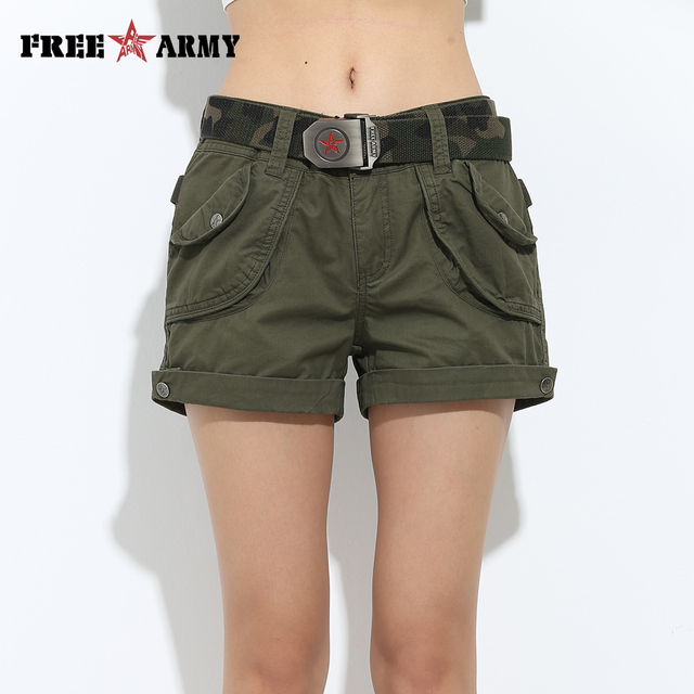 Brand Laides Shorts Women Casual Shorts Loose Pockets Zipper Military Army Green Large Size Summer Women Shorts Outdoors No Belt 10
