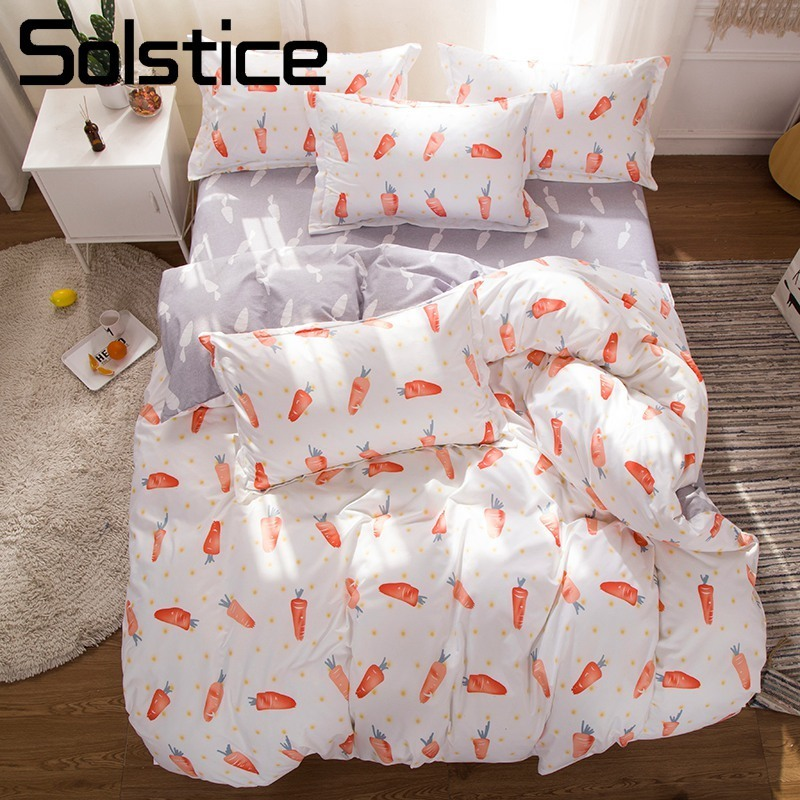 Solstice Home Textile Duvet Quilt Cover Bed Sheet Pillow Case Twin King Girls Kid Teen Bedding Set Carrot White Gray Linens Suit