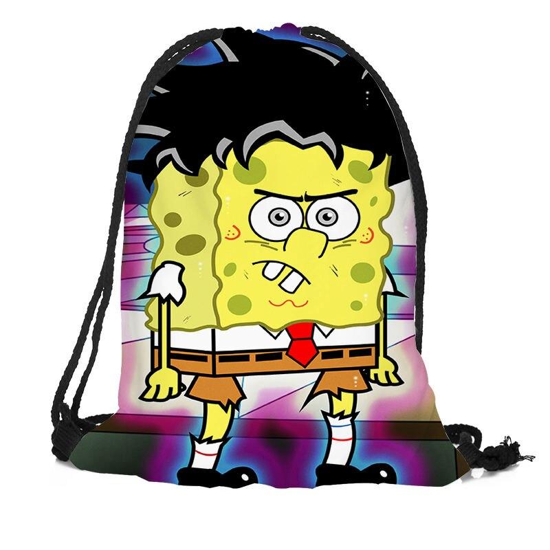 Custom SpongeBob Backpack Drawstring Bag Travel Beach School Bag Multi-function Backpack Printing