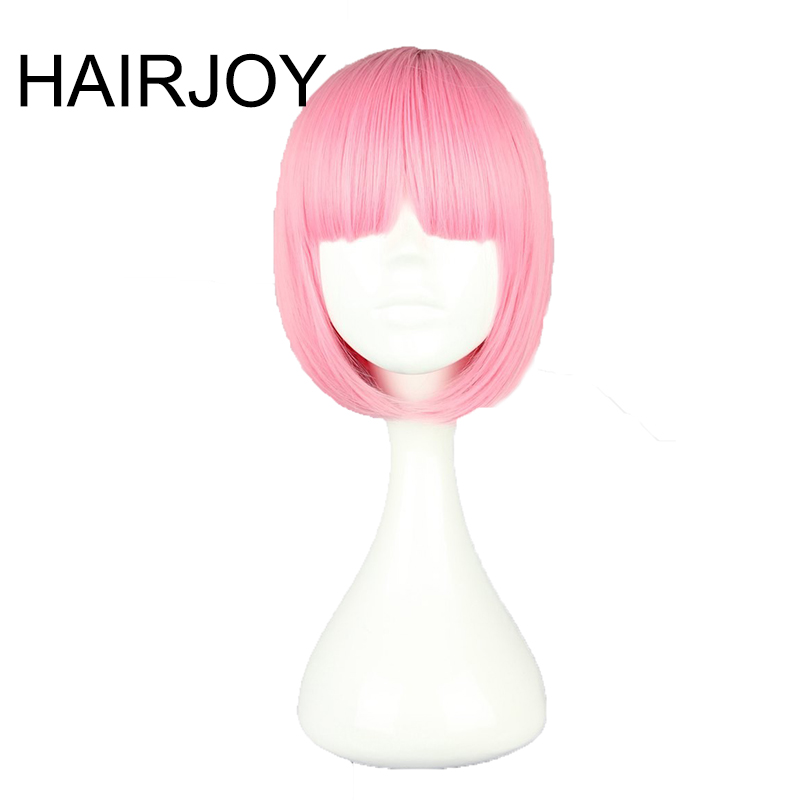 HAIRJOY Synthetic Hair Women Short Straight BOB Hairstyle Pink Lolita Cosplay Wig  8 Colors Available Free Shipping 1