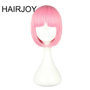 HAIRJOY Synthetic Hair Women Short Straight BOB Hairstyle Pink Lolita Cosplay Wig  8 Colors Available Free Shipping