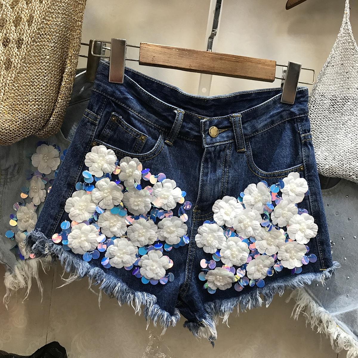 Dark Moda Corto Bordado Mujeres Rebordear Lxmsth Verano Blue light Cintura 3d Pierna Shorts Blue Ancha Lentejuelas Flores Pesado Femenino Loose Alta TWPSq