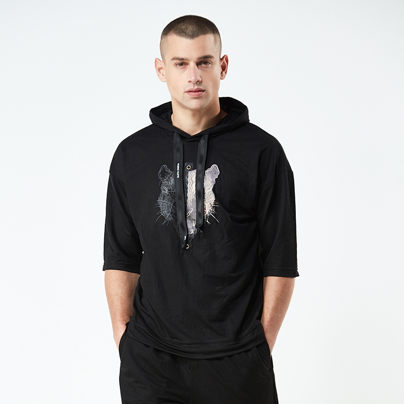 High Quality Mens Tracksuit Shorts Two Piece Sets Tiger Pattern Mens Sweat Suits Loose Men Clothes 2018 Hoodie Sweatshirt+Short