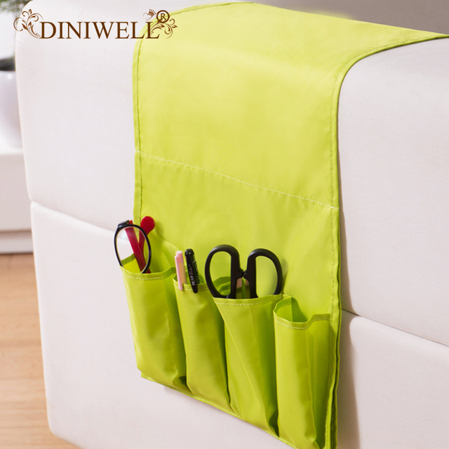 Diniwell Novelty Household Sofa Couch Remote Control Holder Arm Rest Organizer Storage Bag 4 Pocket Sundries