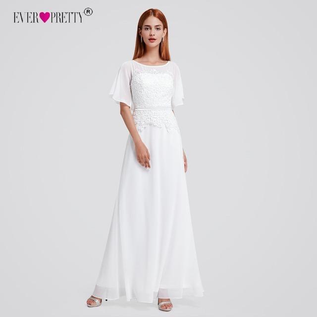 Ever Pretty Bridal Boho Lace Short Sleeve Modest Wedding Dresses EP08775 vestidos de noiva robe de mariage Robe de Maria