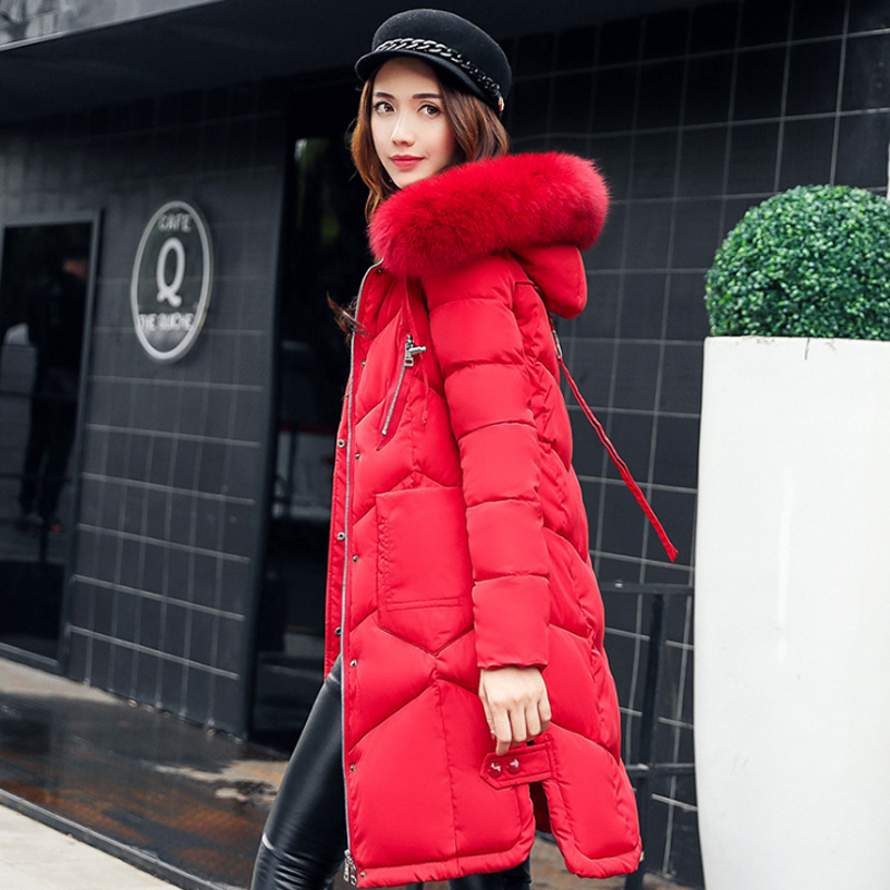 winter women hooded coat big fur collar thick warm long jacket female plus size 3XL outwear   parka   ladies chaqueta feminino