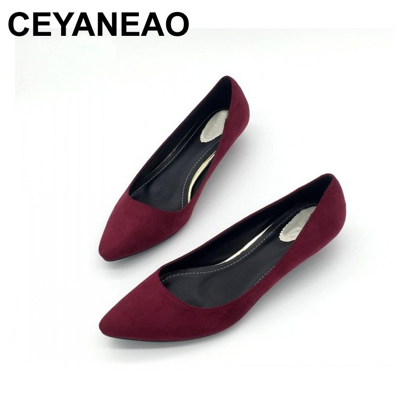 CEYANEAO Sexy Women Low Heel Pumps Spring Autumn Flock Plain Shallow Slip On Female Pumps Shoes Ladies Casual Single Shoes new 2017 fashion sexy low heel women s pumps purple flock slip on female square heel pumps ladies single shoes round black shoes