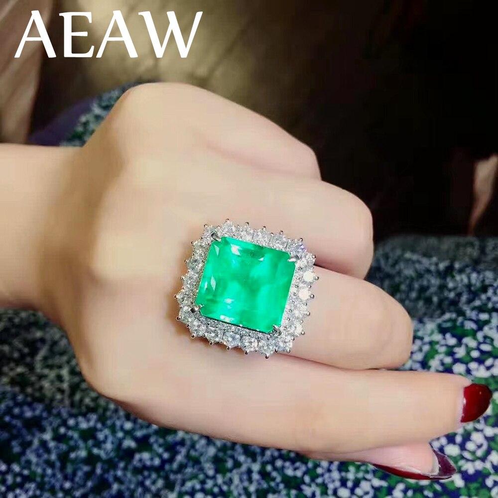 10 Carat Fine Jewelry Echt 9 K Weiß Gold Aaa Kolumbianischen Labor Erstellt Smaragd Mit Moissanite Edelstein Hochzeit Ringe Für Frauen Volumen Groß
