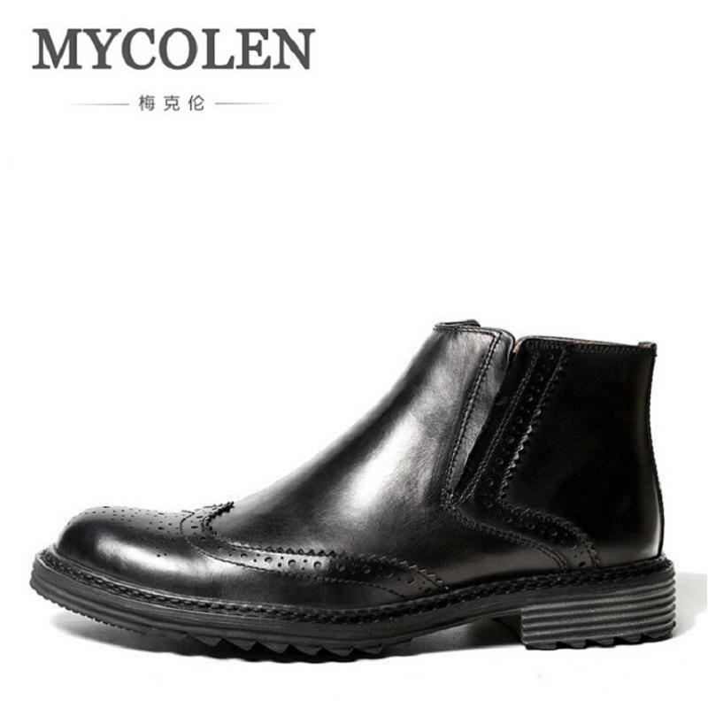 MYCOLEN Genuine Leather Men Boots Handmade Cowhide Leather Men Shoes High Quality Ankle Boots Autumn And Winter Business Shoes mycolen luxury famous men winter boots quality genuine leather boots men business slip on shoes men ankle boots tenis masculino