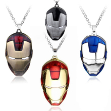 ФОТО the avengers superhero iron man mask pendant necklace link chain necklace men boys personality necklace collier movie jewelry