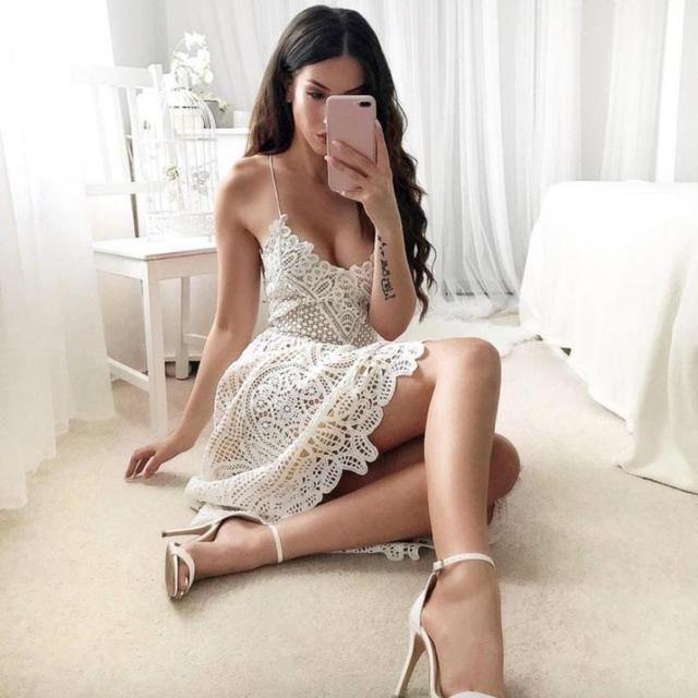 Women's Lace Sleeveless Midi Dress For Summer