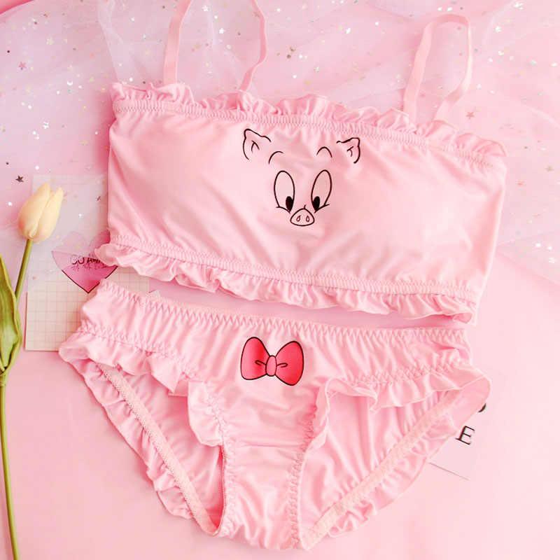 f33cb2e2f989 Japanese Lolita Girls Lovely Pink Pig Underwear lingerie sets komplety  damskie ultra thin bra conjunto sexy