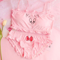 Lolita Cartoon Bra Underwear Panties Set Pink Pig Kawaii Bare Top Intimates Women's Bra & Brief Sets Japanese Sexy lingerie