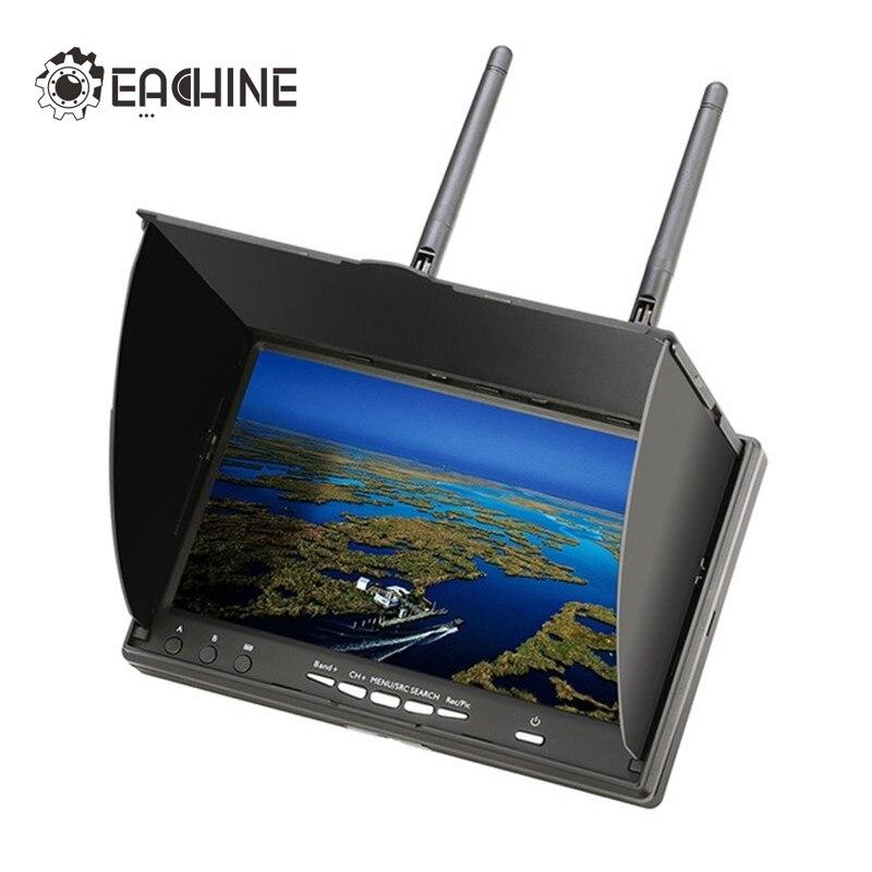 Nueva llegada Eachine LCD5802D 5802 5,8g 40CH 7 pulgadas FPV Monitor con DVR construir-en la batería para FPV multicopter
