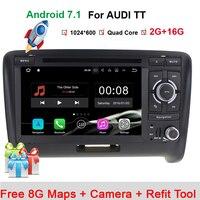 4 ядра android 7.1 автомобильный DVD/CD плеер для Audi TT MK2 2006 2014 GPS навигации радио RDS стерео Bluetooth телефонная книга Wi Fi карта