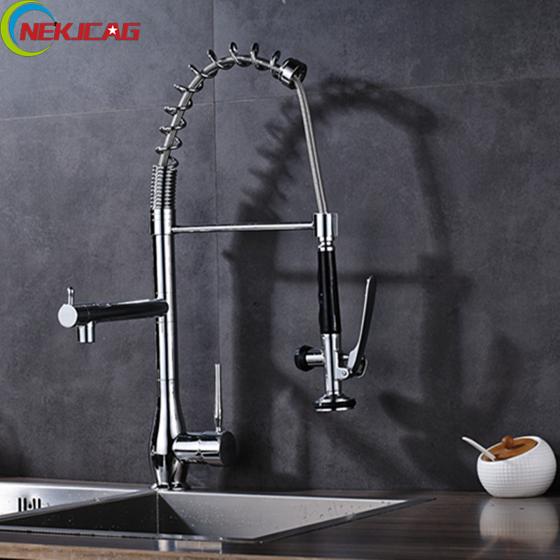 Chrome Finish Rotation Spring Kitchen Sink Faucet Single Handle Pull Down Deck Mounted Kitchen Faucet Mixer Tap with Sprayer kitchen chrome plated brass faucet single handle pull out pull down sink mixer hot and cold tap modern design