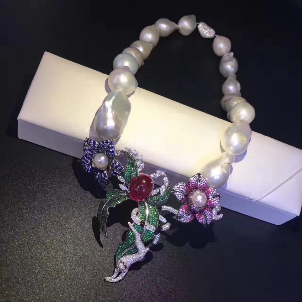fine jewelry natural big pearl choker necklace 925 sterling silver flower and animal necklace 16 Inch accept order any lenth stylish faux pearl bow flower lace choker necklace