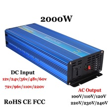 2000W Off Grid Pure Sine Wave Inverter, Surge Power 4000W 60/72/96VDC to110V/220VAC Single Phase Solar or Wind Power Inverter