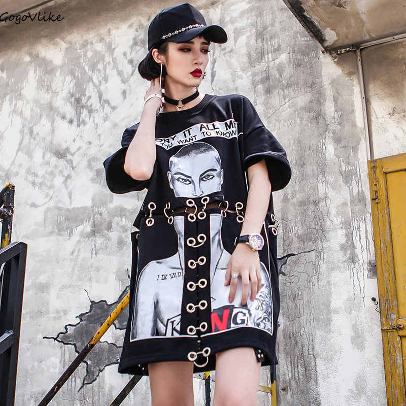 Hip Hop Top Tees 2018 Summer Women Hollow Out Shirt Metal Ring T Shirts Oversized Punk  Cotton Loose Tshirts  LT031S50