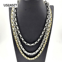 USENSET Fashion Stainless Steel Necklace 6mm Byzantine Link Chain Silver Gold Black Men Charm Jewelry Gift  YS05