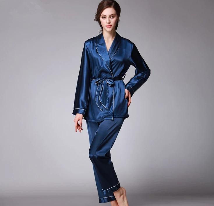 Womens Silk Satin Pajamas Set Sleepwear/&Robes Print Cartoon Pyjamas Loungewear