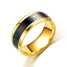 Exquisite fashion intelligent temperature stainless steel personality ring Titanium mens creative