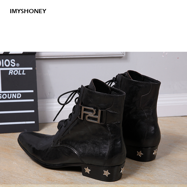 Pointed Leather Boots Short Boots, Martin Boots,fashion  Trends, Genuine Leather Mens Boots with Star Rivet DecorationPointed Leather Boots Short Boots, Martin Boots,fashion  Trends, Genuine Leather Mens Boots with Star Rivet Decoration