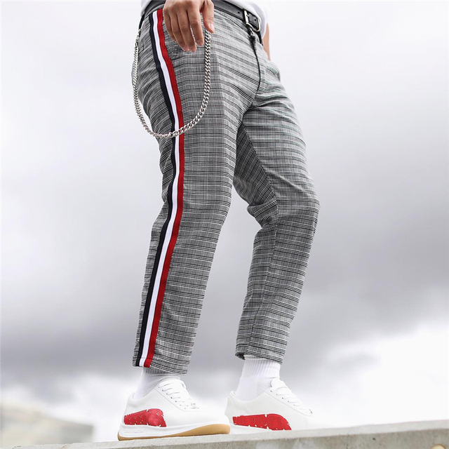4355d085c9 Men's trousers England Plaid Side Striped Men Pants Casual contrast stripe  hiphop track pants Male Long joggers Pant 2018 New