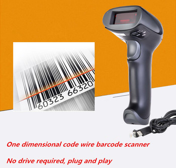 wholesale laser wired 1D barcode scanner barcode reader bar code reader handheld USB Cable for Supermarket for POS Plug and play bp 617 gd bar code scanner handheld 2 4g wireless 2d barcode reader usb wired rechargeable 32 bit decoder xxm8