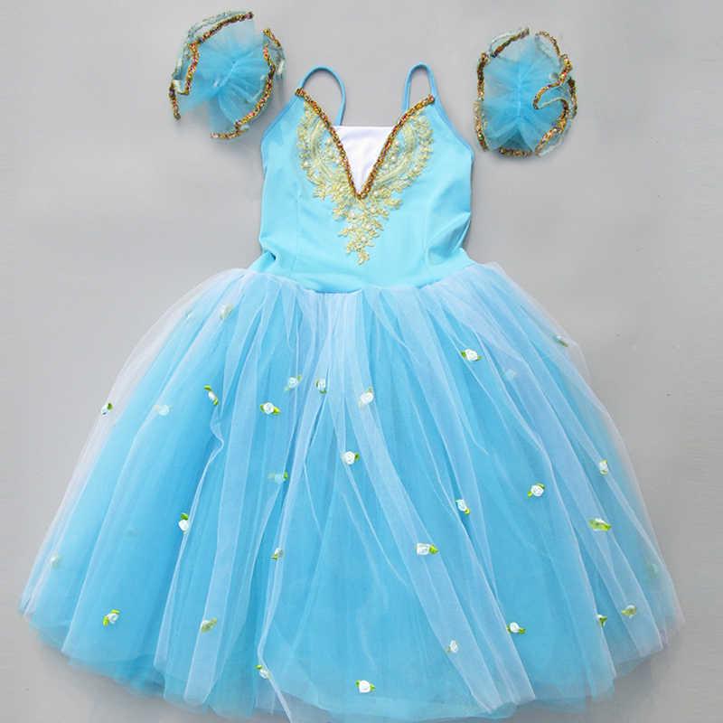 Romantico Tutu di Balletto Professionale Costumi Per Adulti Bambini Cinghie Lungo In Tulle Swan Ballerina di Danza del Vestito Per Le Ragazze Pattinaggio Vestito