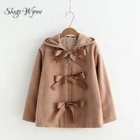 Shugo Wynne Mori Girl Outerwear 2017 Winter New Women Sweet Hooded Long Sleeve Lace Up Bowknot