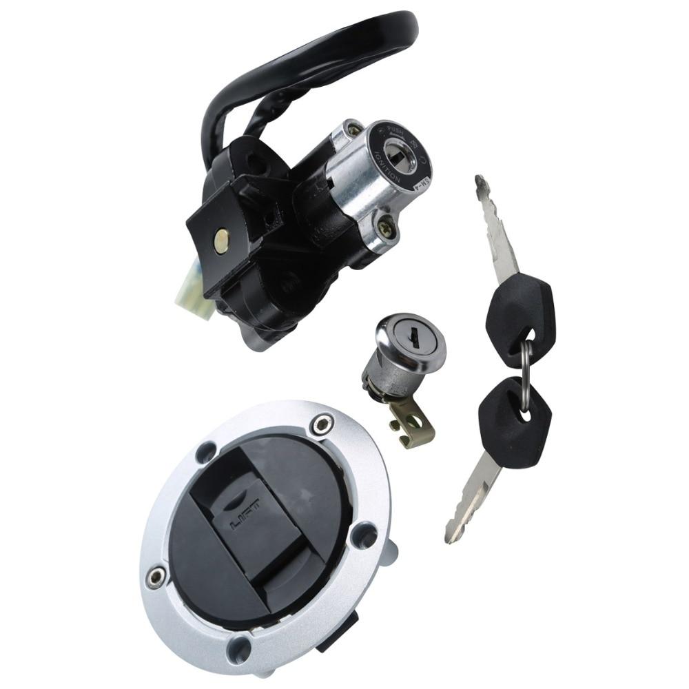 Motorcycle Metal Fuel Gas Tank Cap Cover Lock + Ignition Switch Lock Set For Suzuki SV1000 S 2003 2004 2005 2006 2007 2008 motorcycle metal fuel gas tank cap cover lock with keys for honda cbr600rr cbr600 2003 2004 2005 2006
