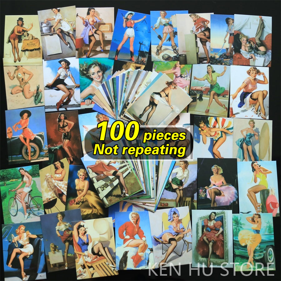 100pcs Retro <font><b>sexy</b></font> <font><b>women</b></font> waterproof <font><b>stickers</b></font> for Wall decor fridge motorcycle Bike refrigerator laptop <font><b>car</b></font> <font><b>stickers</b></font> no repeat image