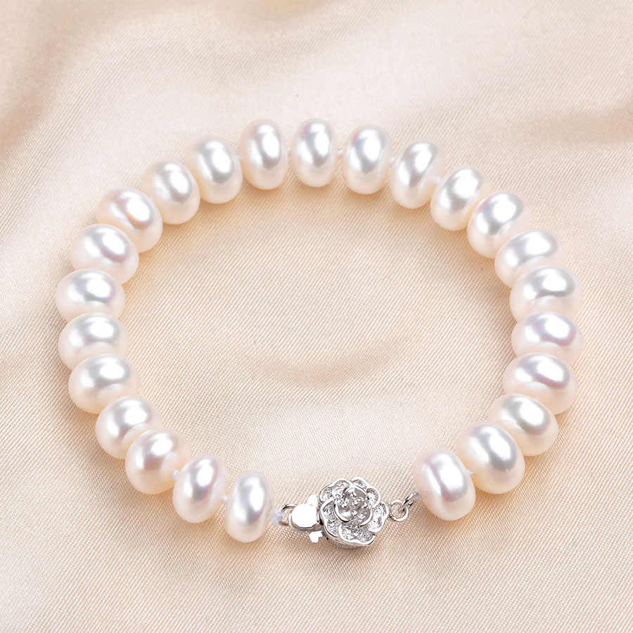 Fashion White Real Natural Pearl Bracelets For Women High Luster Freshwater Pearl Jewelry 925 Sterling Silver Strand Bracelet