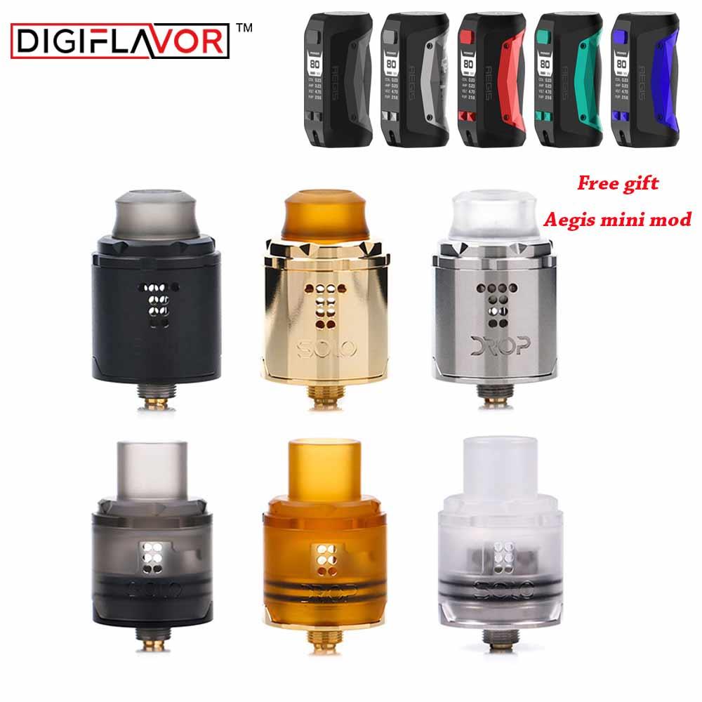 Cadeau gratuit Aegis Mini Mod digisaveur goutte Solo RDA simple bobine 22mm/24mm goutte avec deux bouchons ajustement 510 cigarette électronique mod