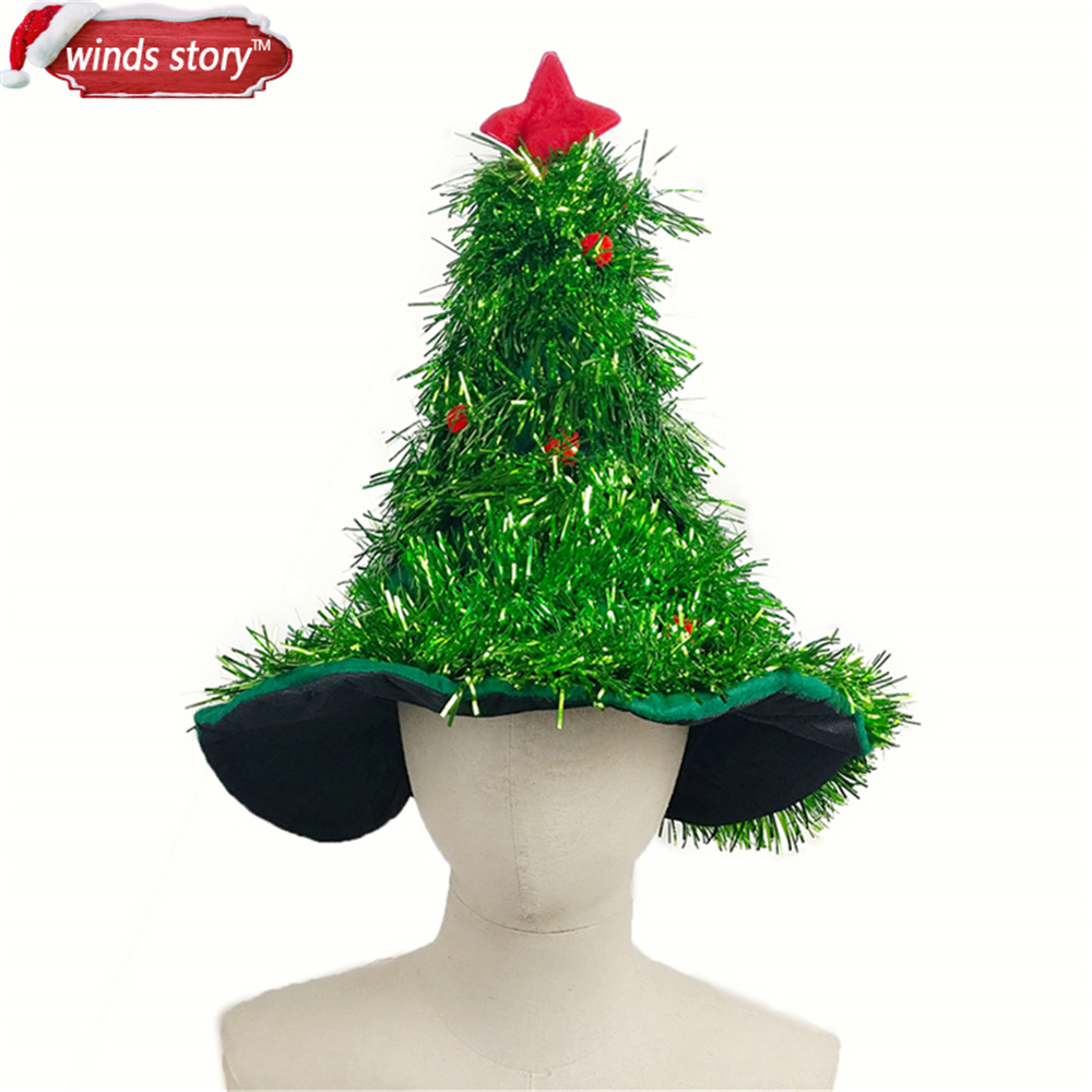Christmas tree decorated with tinsel - Aliexpress Com Buy Tinsel Christmas Tree Hat On 1pc Headband Father Christmas Xmas Party Santa Fancy Dress Costume Hat Holiday Decorations Headgear From