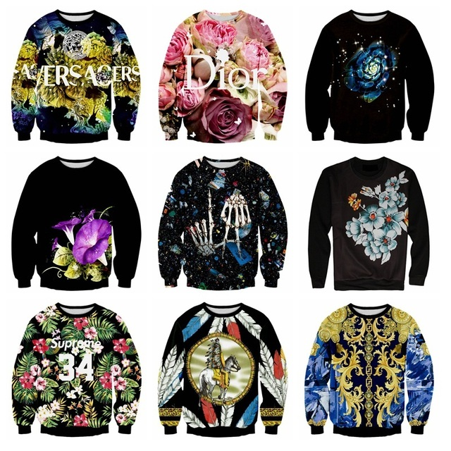 Tide high quality baseball clothes boy pullover 3D animal three-dimensional print round neck sweater hip-hop clothing 12-18 year