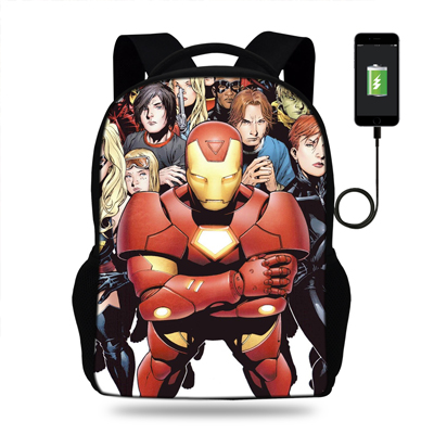 16inch Heros Schoolbag Marvel Iron Ma Bags For Boys USB